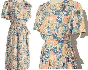 Vintage 60s Dress Maurice Rentner Blue & Pink Floral Summer M