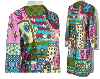 Vintage 60s Dress Mod Atomic Pop Art Psychedelic Hippie M / L