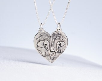 Puzzle Piece Heart Necklace Elephant Jewelry Sterling Silver