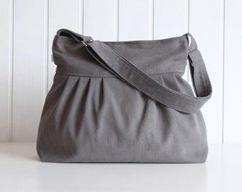 Olive Grey Canvas Pleated Bag - Messenger bag, adjustable strap with ZIPPER closure - diaper bag, Travel bag, trip / smoke gray