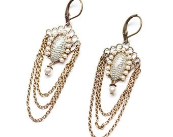 White Pearl Chandelier Earrings - 1920s - Vintage Inspired - Art Deco Earrings - Bridal - Flapper - Gatsby Earrings (SD0531)