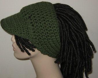 Billed Dreadband Hat in Medium Thyme