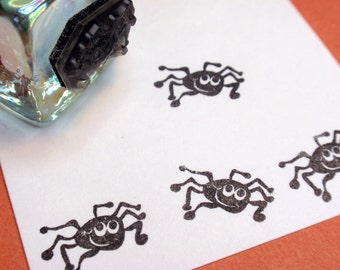 Tiny Halloween Spider Rubber Stamp Handmade rubber stamps by BlossomStamps