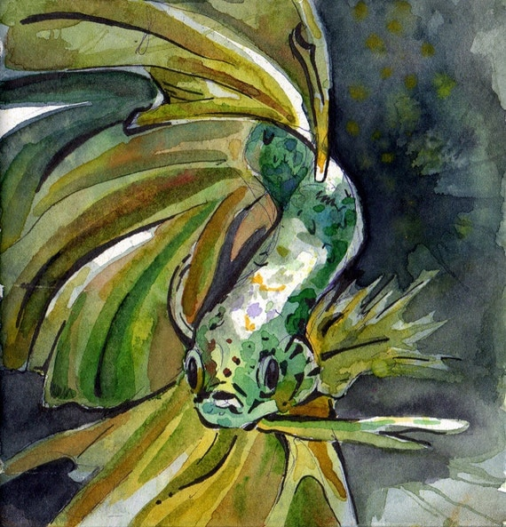 Painting of green betta fish original watercolor on paper for Betta fish painting