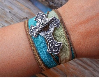 Trendy Jewelry, Cool Sideways Cross Silk Wrap Bracelet, STERLING Silver Cross Jewelry, READY to SHIP Inverted Cross Jewelry