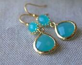 Turquoise Dangle Earrings, Drop Earrings Gold Framed Earrings Turquoise Pool Gold Finish Wedding Jewelry Summer Resort Earrings