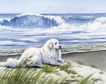 "Great Pyrenees Art Print ""Great Pyrenees At The Beach"" Signed by Artist DJ Rogers"