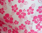 pink Hibiscus Swim Lycra ONE Yard is 60 wide on the roll American Spandex