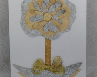 Original Handmade - Gold, Silver, Peony Art Card