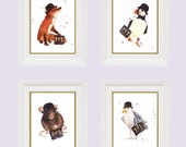OFFICE decor, 8x10 prints, animals in hats co-worker gift