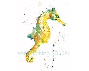 SEAHORSE 5x7 inch print, nautical print, kids wall art, animal prints, seahorse art, art prints
