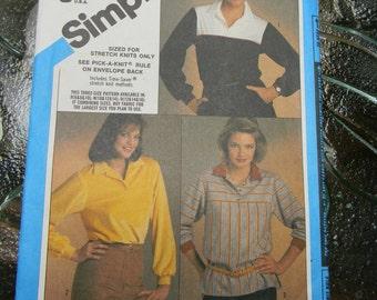 Vintage Simplicity Misses Pullover Top Pattern N 6588, Uncut, Sizes 10 thru 14