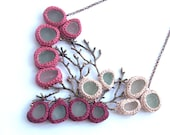 Twig necklace Bib Sea glass necklace Valentine gift for her  jewelry ooak bride collar coral pink wine red crochet seaglass copper gift