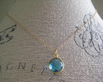 Blue Quartz & Gold Necklace