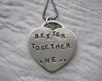 Better Together We... Necklace- Sterling Silver, Heart Charm, Stamped