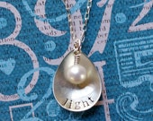 One Little Word Necklace--Concave Teardrop with Pearl