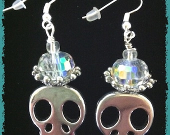 Glam up Your Gothic Ears With These Skull Earrings Silver Slice with Crown and  Crystals