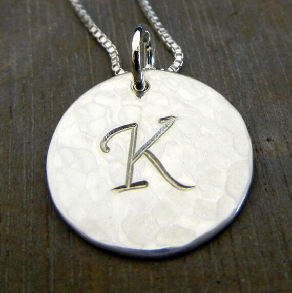 Silver Initial Necklace, Script, Cursive Letter Charm Necklace, Sterling Silver (.925) TILLY by E. Ria Designs