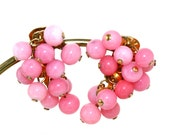 Vintage Pink Glass Beads Bunch Dangle Earrings