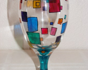 Hand painted color block glass goblet