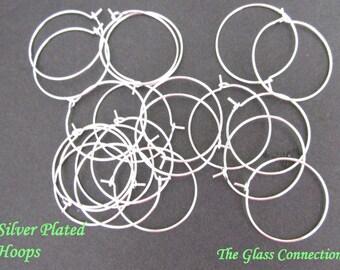100 Silver Plated Earring Wine Charm Hoops 25mm Bulk Accessories Ring Supplies Findings Beading Hoop Nickel and Lead Free