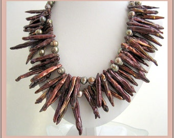 Necklace- Dramatic Bronze PEARLS-Sterling silver