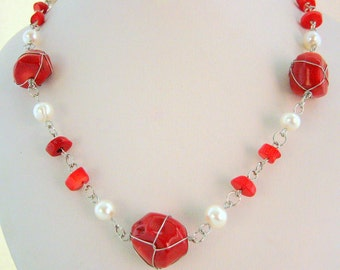Necklace - wired red rock Corals - freshwater Pearls - Sterling silver rings - Long necklace