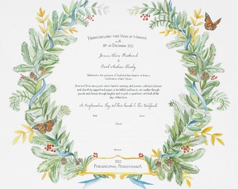 Watercolor Marriage Certificate BOTANICAL 2