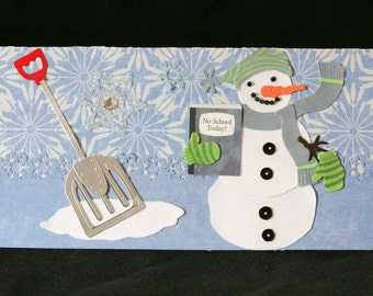 Checkbook Cover Vinyl Unique Handmade Snowman Design