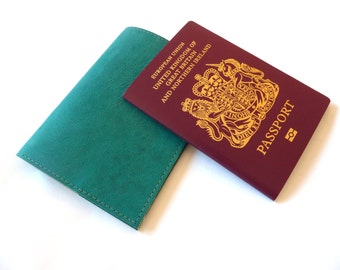 Leather Passport Holder, Case, Teal, Personalised, Engraved