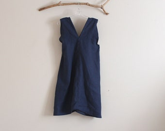 midnight blue linen sparrow tunic top size S to M