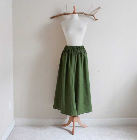 custom linen shirred waist wide leg pants petite to plus size by annyschooecoclothing