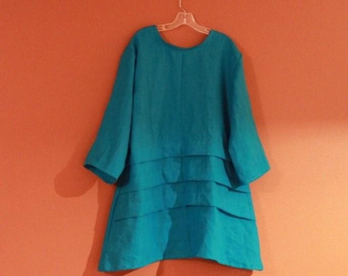custom plus size  three pleats  linen tunic / women clothing / plus size tunic / linen women / women tunic /  tunic for women / shirt tunic