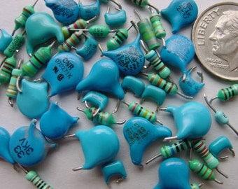 Recycled Electronic Supply. Computer Scrap. Techno Trash Art Supply. Aqua Blue Small medium resistors n capacitors. RR-6