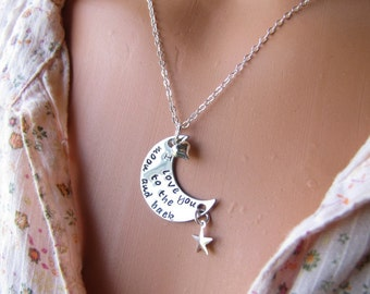 I Love You To The Moon And Back Hand Stamped Necklace Sterling Silver Chain