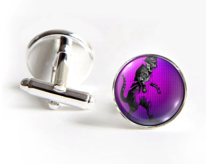 Dancing CAT Cufflinks silver 18mm cuff links