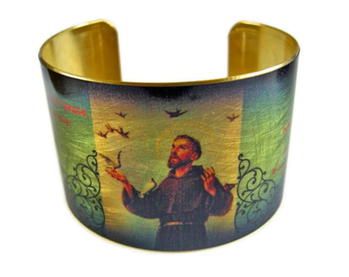 SAINT FRANCIS of Assisi prayer Cuff Bracelet St. francis brass   Gifts for her