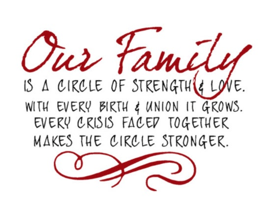 Quotes About Family Strength: Our Family Is A Circle Of Strength And Love Por HouseHoldWords