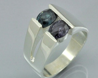 Dual Spinel Blue and Purple Color in Sterling Silver Channel Set Ring