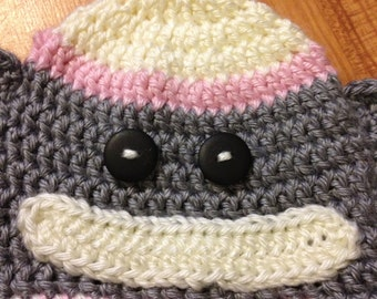 Infant, Toddler, Child Crocheted Soft Acrylic Sock Monkey Hat - Perfect for Newborn Baby
