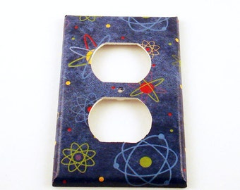 Light Switch Cover Switchplate Outlet Switch Plate  in Blue Atoms   (103O)