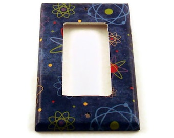 Light Switch Cover  Rocker Switch Plate in Blue Atoms   (103R)