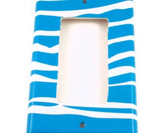 Rocker Light Switch Cover Single Switchplate Switch Plate in Funky Zebra Blue  (094R)