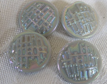 Set of 4 VINTAGE Iridescent Gray Glass BUTTONS