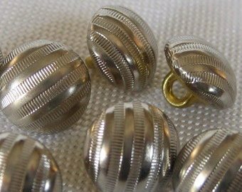 Set of 5 Small VINTAGE Silver Metal BUTTONS