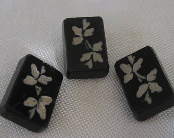 Set of 3 ANTIQUE White Painted Rectangle Black Glass BUTTONS