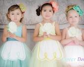 FLOWER GIRL dress tutu dress retro dresses for girls for tea party handmade wedding in mint green yellow and peach