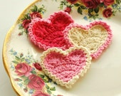 Crochet Hearts Pink and Cream