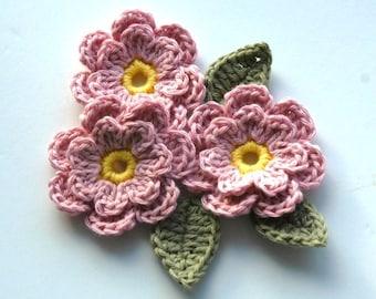 Crochet Applique Flowers in Dusky Pink