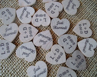 Personalized Just Married Wood Hearts Confetti Tags Charms - Item 1528